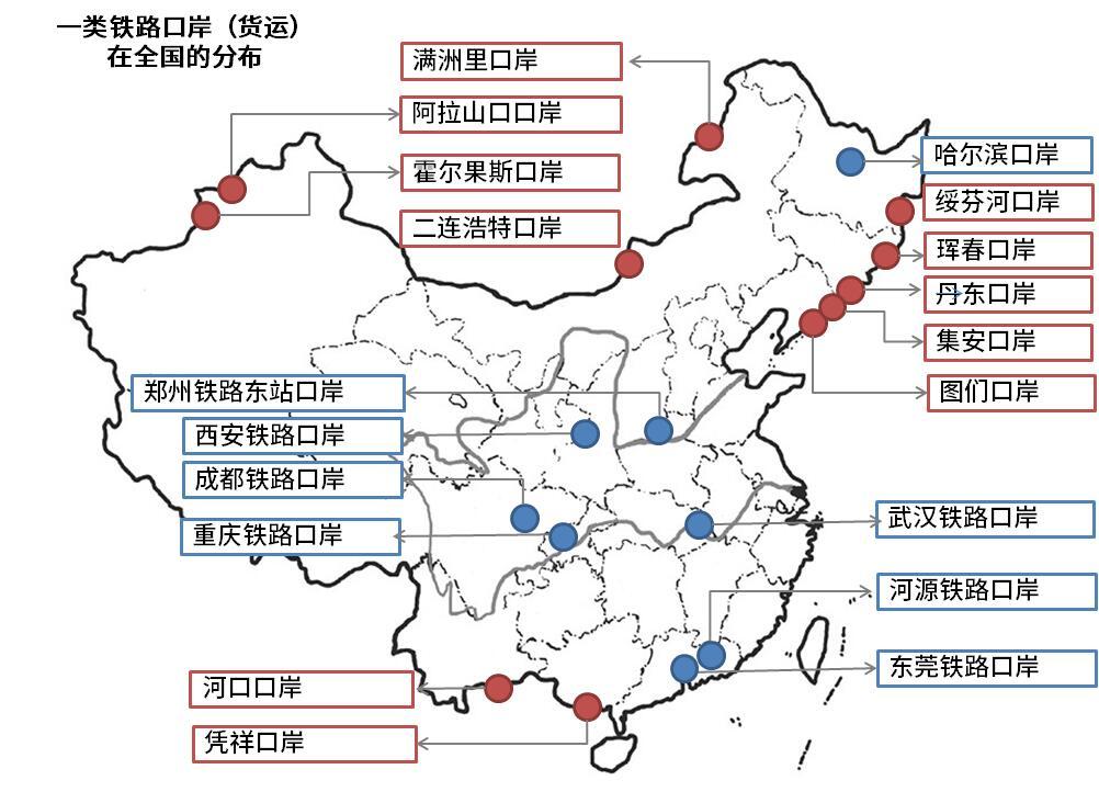 《铁路主要货运口岸的分布和介绍》